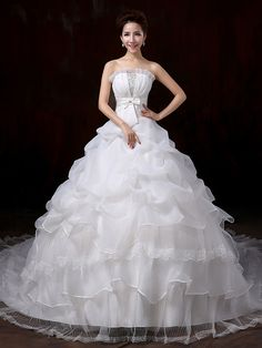 Vestido de Noiva - Branco Baile Sem Alças Cauda Corte Renda - BRL R$304,76
