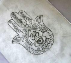 Hand of Fatima.... aka Hansa Hand.... with Om symbol tattoo.... I want this so bad!!!!