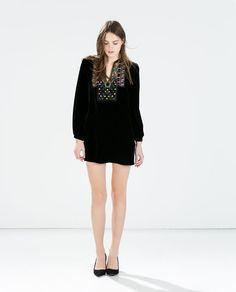 Image 1 of BLACK VELVETEEN DRESS from Zara