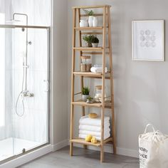 Oversized+Ladder+Style+Teak+Bathroom+Shelf