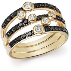 Black and White Diamond Triple Row Band in 14K Yellow Gold - 100% Exclusive