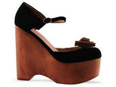 Jeffrey Campbell wood wedges Girl Blog, Jeffrey Campbell, Brown Suede, Fasion, Girls Shoes, Black And Brown, Slippers, Wedges, Daisy