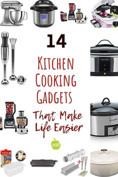 14 Kitchen cooking gadgets that make life easier. These cooking tools help get healthy dinner meals made simply. Great gift ideas for moms, dads, or college students. Cooking Gadgets, Cooking Tools, Learn To Cook, Food To Make, Cookbooks For Beginners, Must Have Kitchen Gadgets, Sous Vide Cooking, Inexpensive Meals, Kitchen Gifts