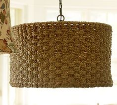 Holbrook Seagrass Drum Shade Pendant #potterybarn  Not really feeling a chandelier so maybe we'll go with something like this.