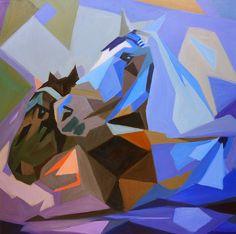"""Coffee and Milk"". Pair of draft horses, Vienna. #Cubist oil painting by Dusan Balara"