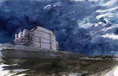 Dismissed nuke plant in Borgo Sabotino (LT), Italy  Pilot & G-Tec-C4 watercolor   February 2013