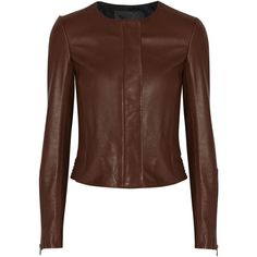 A.L.C. Port leather jacket ($590) ❤ liked on Polyvore featuring outerwear, jackets, coats, leather jacket, chaqueta, merlot, 100 leather jacket, leather jackets, brown jacket and genuine leather jackets