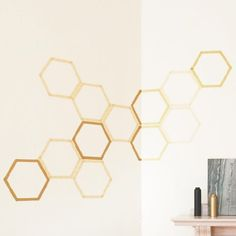 Make this easy honeycomb wall decal with washi tape and downloadable template--perfect for renters!