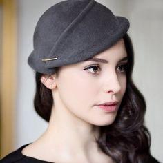Mini Hat, Wedding Headpiece, Grey Felt Hat, Handmade Hatinator, Fascinate