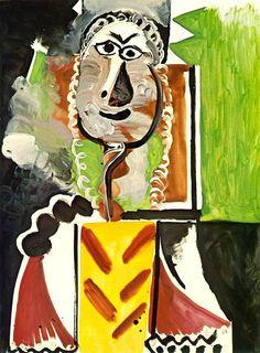 Pablo Picasso - Bust of man, 1969 Pablo Picasso Drawings, Picasso Cubism, Picasso Portraits, Picasso Paintings, Cubist Artists, Cubist Movement, Spanish Painters, Artist Album, Post Impressionism