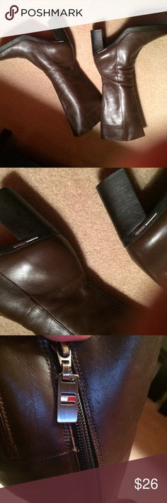 Tommy Hilfiger Brown Leather Boots. Sz9 Great Condition. Sz9. Soft Leather. Rubber Soles. Tommy Logos Tommy Hilfiger Shoes Heeled Boots