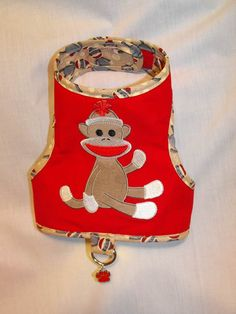 sock monkey harness vest by dressmeupscottie on Etsy