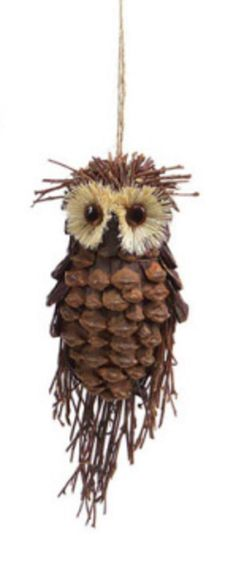 Modern Lodge Pine Cone and Twig Owl Christmas Ornament Decoration for sale online Pine Cone Christmas Decorations, Pine Cone Christmas Tree, Christmas Owls, Christmas Crafts, Christmas Ornaments, Xmas, Christmas Lodge, Nautical Christmas, Christmas Central