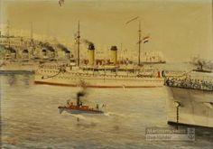 Hr.Ms. pantserdekschip GELDERLAND in de haven van Marseille ter gelegenheid van de ontscheping van president Paul Kruger