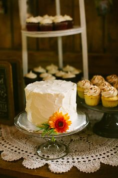 simple white wedding cake by Two Fat Cats