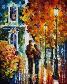 "After The Date — PALETTE KNIFE Figure Modern Wall Art Textured Oil Painting On Canvas By Leonid Afremov - Size: 24"" x 30"" (60 cm x 75 cm)"