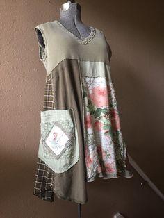 Upcycled Summer T-Shirt Tank Dress Boho Shabby Chic