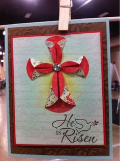 Leadership Convention 2012 origami flower pedals shaped into a cross) Easter card New Home Cards, Christian Cards, Card Making Inspiration, Sympathy Cards, Folded Cards, Creative Cards, Greeting Cards Handmade, Easter Crafts, Scrapbook Cards