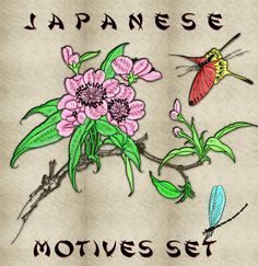 Japanese motives embroidery pack (collection of 20) - Embrostitch