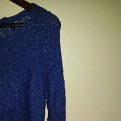 sweater /knit sweater royal blue Royal blue knit sweater  bright blue, very eye catching pictures dont do enough justice on how Bright of a blue this is. super soft too, one of my favorites ♡♡♡ looks great with jeans or leggings.  offers are awesome, lets talk! Charlotte Russe Tops Sweatshirts & Hoodies