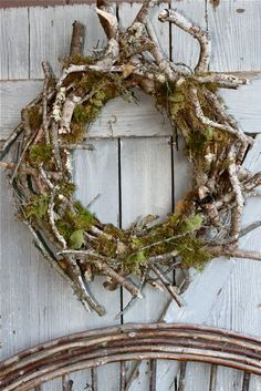 moss and sticks for a natural rustic wreath