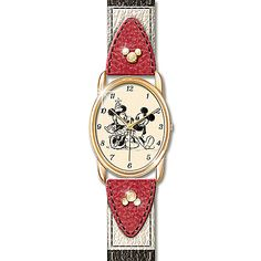 Disney Mickey Mouse And Minnie Mouse Women's Leather Band Watch: Timeless Love