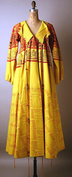 Yellow Coat, Zandra Rhodes, 1968–69, wool, beads