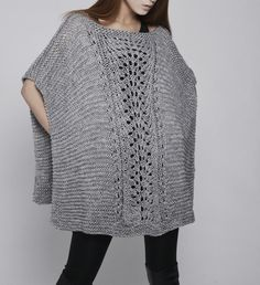hand knitted Poncho/ capelet in Grey от MaxMelody на Etsy