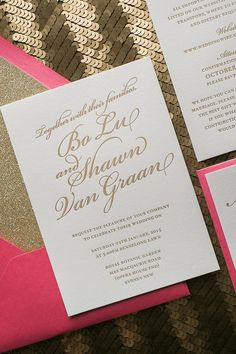 black and silver, black and gold, glitter wedding invitations ...