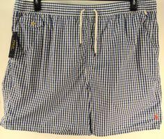 POLO RALPH LAUREN BLUE WHITE PLAID Big Tall BATHING SUIT TRUNKS BOARD SHORTS 4XB #PoloRalphLauren #BoardSurf