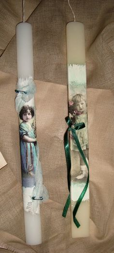 Decoupage easter candles