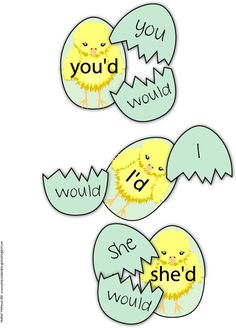 Contractions games themed with chicks.
