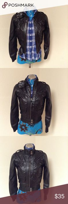 Vegan Moto Jacket X-Small In excellent condition.Check out my other items. Miley Cyrus/Max Azria Jackets & Coats