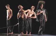 "Trajal Harrell's ""Antigone Sr."" at New York Live Arts. From left, Rob Fordeyn, Stephen Thompson, Ondrej Vidlar and Thibault Lac | Photo: Andrea Mohin/The New York Times"