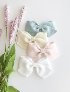 Buy Now Textured Linen Folded Sailor Bows - Spring Linen Bows - Easter Bows - Pastel Baby Headbands - Linen Hair Bows - Baby Bows - Spring Linen Bow by CollectiveCreationsC. Fabric Hair Bows, Ribbon Hair Bows, Diy Hair Bows, Diy Bow, Diy Ribbon, Ribbon Flower, Fabric Flowers, Fabric Bow Tutorial, Hair Bow Tutorial