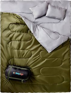 Double Sleeping Bag For Backpacking, Camping, Or Hiking. Queen Size XL Cold Weather 2 Person Waterproof Adults Teens. Truck, Tent, Pad, Lightweight Sleepingo