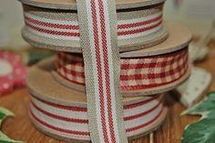 Ribbon - 3 stripe - beige/cream/red