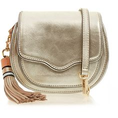 Rebecca Minkoff Mini Sidney Silver Cross-Body Bag ($115) ❤ liked on Polyvore featuring bags, handbags, shoulder bags, silver, crossbody purse, brown crossbody purse, brown cross body purse, crossbody shoulder bags and mini crossbody