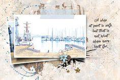 Ship in Port - Made with pieces from: Created by Jill Studio Romy Jen Yurko NBK Design Digital Scrapbooking, Digital Art, Posters, Ship, Wall Art, Studio, Design, Poster