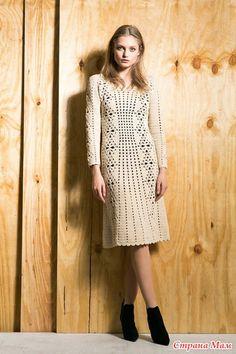 Девочки, начинаем вязать такое вот чудесное платье!  Можно летний вариант из хлопка, а можно и на весну из шерсти или полушерсти.