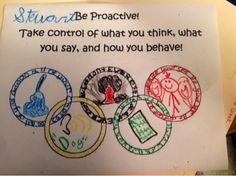 "Counseling Corner: Be Proactive lesson: This counselor used the book, ""Touch the Sky."" It's the story of Aice Coachman by Ann Malaspina. She had the kids make Olympic rings to list their proactive goals."