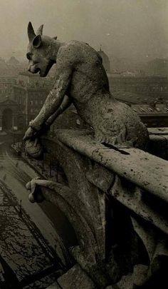 Amazing vintage photo of the famous gargoyle at Notre Dame