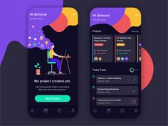 Tasks Management App by Simona Vorlova on Dribbble Hey guys, this is a new concept of project and task management app in the dark mode. Do you use apps in the dark mode? User Interface Design, Ui Ux Design, Page Design, Graphic Design, Mobile App Ui, Mobile App Design, Apps, App Design Inspiration, App Development