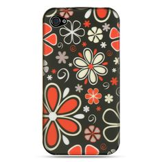iPhone 4 / 4S Rubber Case - Black w/ Red Flower Power