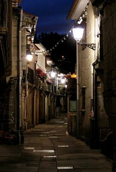 The town of Combarro at night - Galicia, Spain