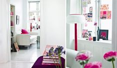 Architecture, Dazzling Apartment Interior Design with Feminine Theme: Fascinating Living Space With Pink And Purple Flowers