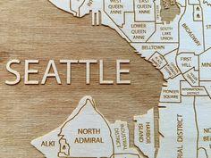 Boston Engraved Wood Neighborhood Map Etched Atlas Wood Maps