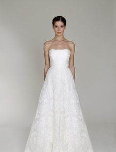 Bridal Gowns: Bliss by Monique Lhuillier A-Line Wedding Dress with Strapless Neckline and Natural Waist Waistline