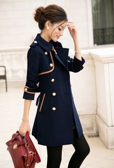 New Arrivals : Asian Elegant Trench Navy Blue Coat YRB0360