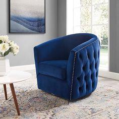 Velvet Armchair, Swivel Armchair, Velvet Chairs, Loveseat Sofa, Navy Blue Accent Chair, Swivel Barrel Chair, Fabric Armchairs, Chair Types, Lounge Areas